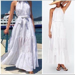 Zara Linen Halter Dress